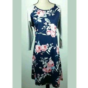 Floral Midi Dress Raglan Striped Sleeves XXL